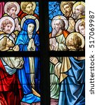 Small photo of ALSEMBERG, BELGIUM - APRIL 3, 2008: Stained Glass window depicting Mary and the Apostles on Pentecost in the Church of Alsemberg, Belgium.