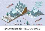 isometric merry christmas... | Shutterstock .eps vector #517094917