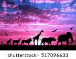 silhouettes of animals on... | Shutterstock . vector #517096633