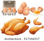 fried chicken and fresh eggs... | Shutterstock .eps vector #517146517