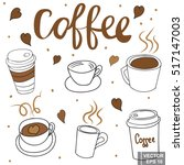 a set of cups for coffee.... | Shutterstock .eps vector #517147003