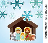 holy family manger scene over... | Shutterstock .eps vector #517189033