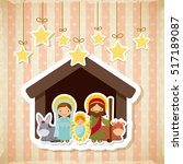 holy family manger scene with... | Shutterstock .eps vector #517189087