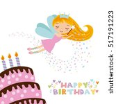 happy birthday card with cute... | Shutterstock .eps vector #517191223