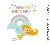 happy birthday card with cute... | Shutterstock .eps vector #517191547