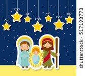 holy family over night... | Shutterstock .eps vector #517193773