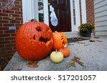 Halloween Pumpkins On Doorstep
