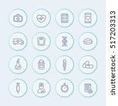 medicine line icons set ... | Shutterstock .eps vector #517203313