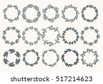 big set of hand drawn wreaths.... | Shutterstock .eps vector #517214623