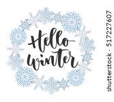 hello winter black hand written ... | Shutterstock .eps vector #517227607