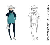 fashion girl sketches. line ...   Shutterstock .eps vector #517228327