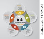 design clean 5 steps template...   Shutterstock .eps vector #517228513