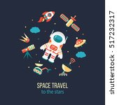astronaut in outer space.... | Shutterstock .eps vector #517232317