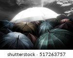 unique umbrella lights glowing... | Shutterstock . vector #517263757