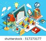 online education isometric flat ... | Shutterstock . vector #517273177