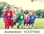 superheroes cheerful kids... | Shutterstock . vector #517277653