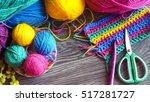 balls of multicolored yarn for... | Shutterstock . vector #517281727
