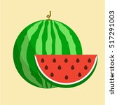 flat icon watermelon and slice... | Shutterstock .eps vector #517291003