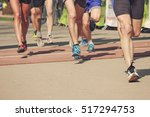 marathon running race  people... | Shutterstock . vector #517294753