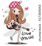 happy teenage girl wearing cap...   Shutterstock .eps vector #517305043