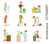 children helping with home... | Shutterstock .eps vector #517308007