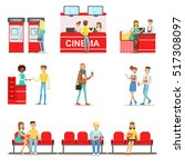 happy people in cinema theatre  ... | Shutterstock .eps vector #517308097