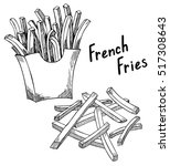 french fries sketch  hand drawn ... | Shutterstock .eps vector #517308643