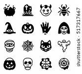 vector halloween icon set | Shutterstock .eps vector #517317667