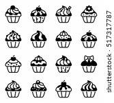 vector cupcake icon set | Shutterstock .eps vector #517317787