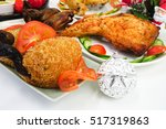 christmas food party with fried ...   Shutterstock . vector #517319863