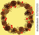 winter holiday wreath of cone.... | Shutterstock .eps vector #517321513