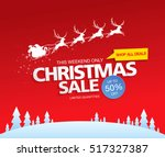 christmas sale. vector... | Shutterstock .eps vector #517327387