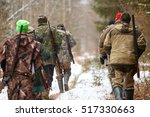 Group Of Hunters Walking In Th...