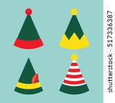 christmas hats. new year elf... | Shutterstock .eps vector #517336387