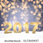golden 2017 new year shining... | Shutterstock .eps vector #517345957