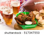 snacks for watching a football... | Shutterstock . vector #517347553