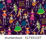 seamless pattern with skeletons.... | Shutterstock .eps vector #517351237