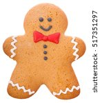 Small photo of Beautiful and delicious Christmas ginger gingerbread man isolated on white background.