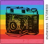 old camera with dirty shapes on ... | Shutterstock .eps vector #517358503