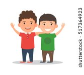 two boys smiling  hugging and... | Shutterstock .eps vector #517364923
