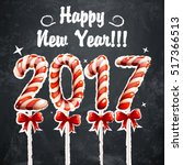 New Year 2017 In Shape Of Cand...
