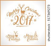 merry christmas design set.... | Shutterstock .eps vector #517369273