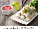 vietnamese rolls with... | Shutterstock . vector #517374553