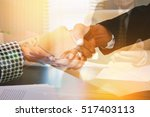 double exposure of business in... | Shutterstock . vector #517403113