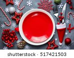 christmas table place setting... | Shutterstock . vector #517421503