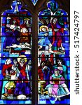 Small photo of Gournay en Bray, France - september 7 2016 : stained glass window of the Saint Hildevert collegiate church