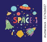 space icons in cartoon style.... | Shutterstock .eps vector #517426027