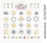 collection of vintage hand... | Shutterstock .eps vector #517427047