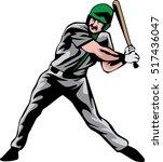 batter baseball vector | Shutterstock .eps vector #517436047