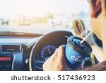 man is dangerously eating hot... | Shutterstock . vector #517436923